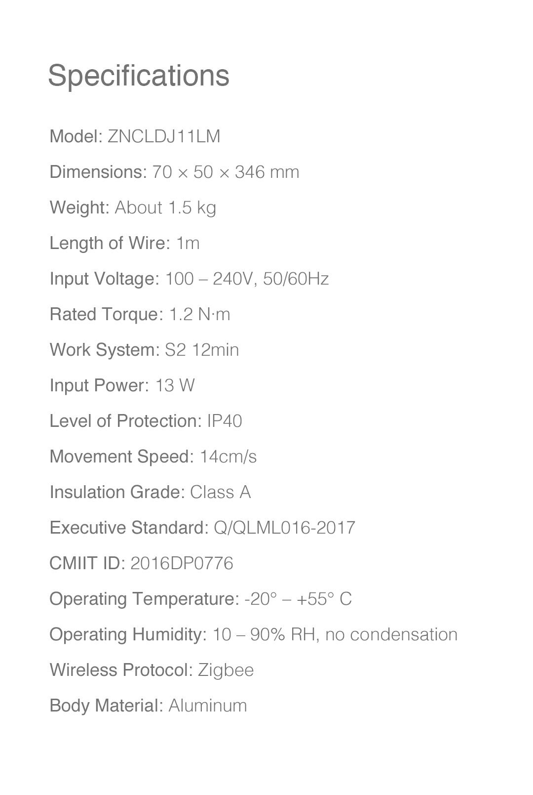 Aqara intelligent curtain controller specifications