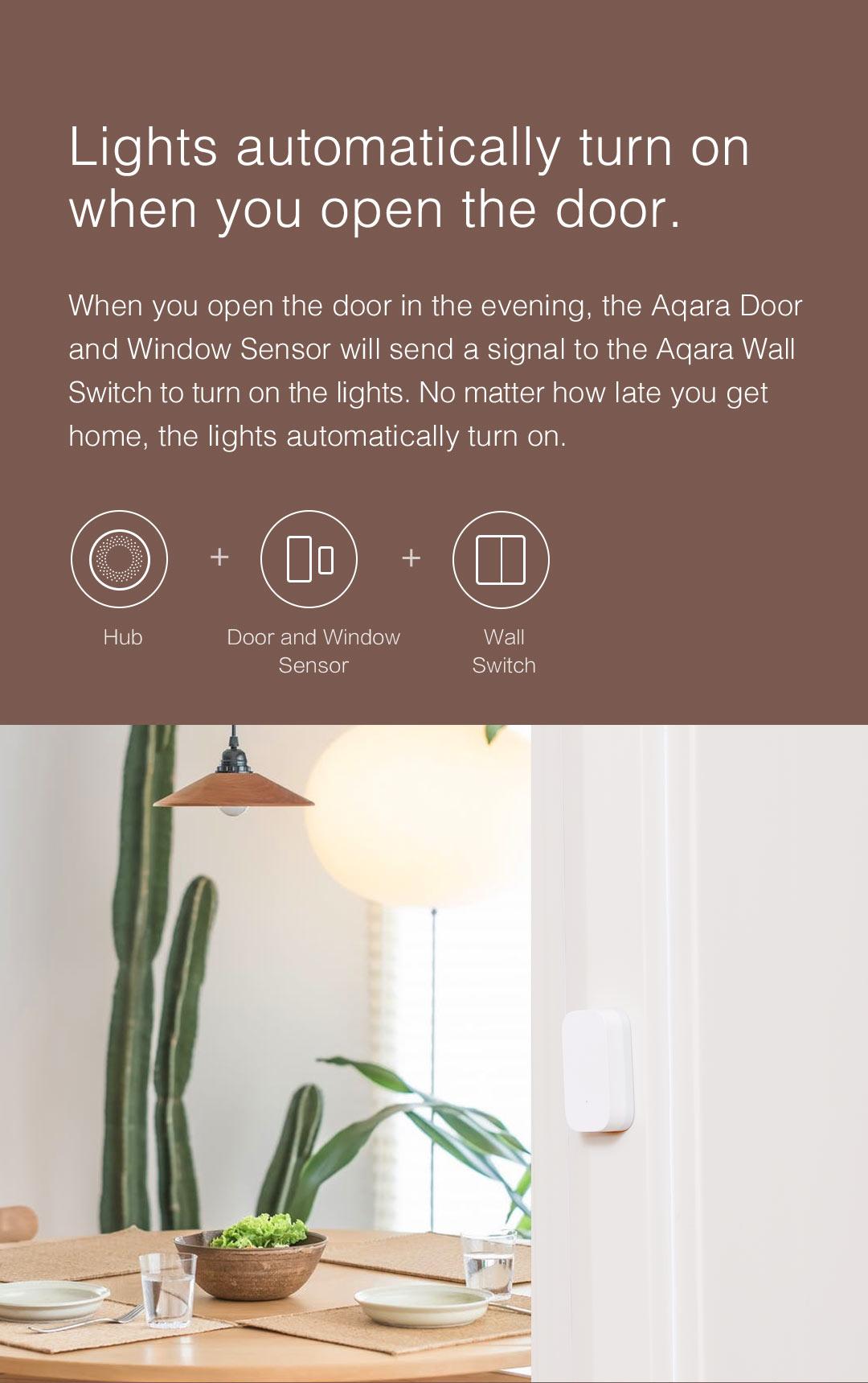 smart lighting with Aqara smart home door sensor