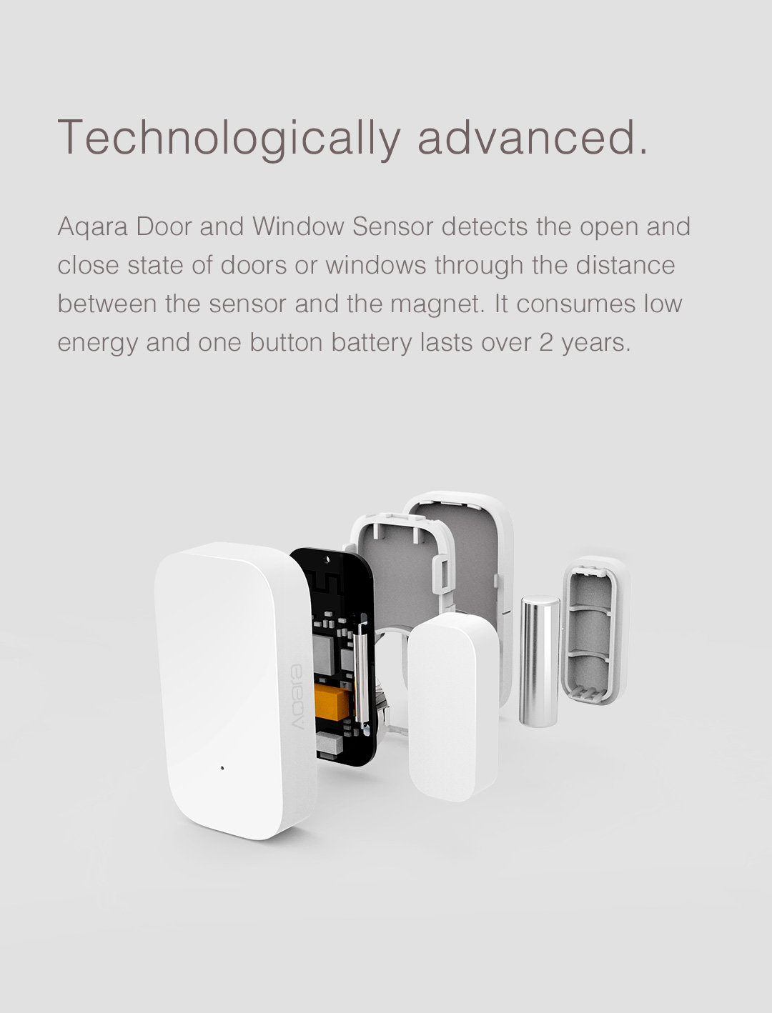 Aqara window door sensor's battery can last over 2 years under normal usage
