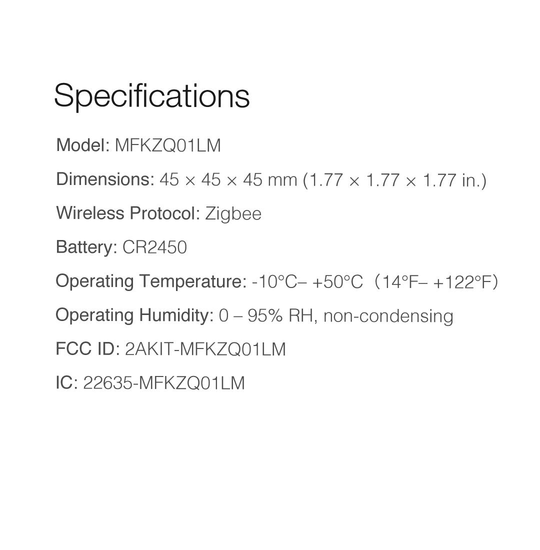 Aqara Cube specifications