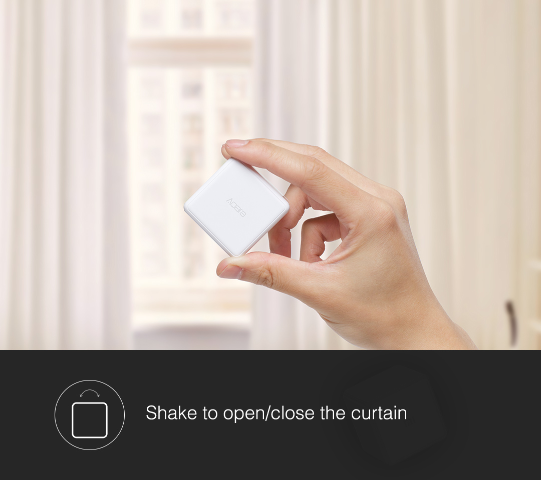 Shake our magic cube controller to open/close the curtain