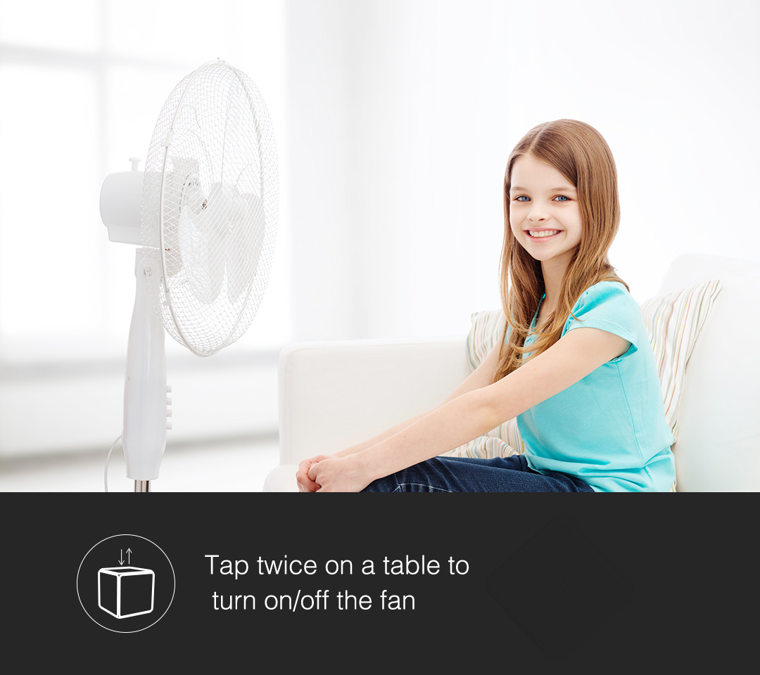 Tap twice our magic cube controller to turn on/off the fan