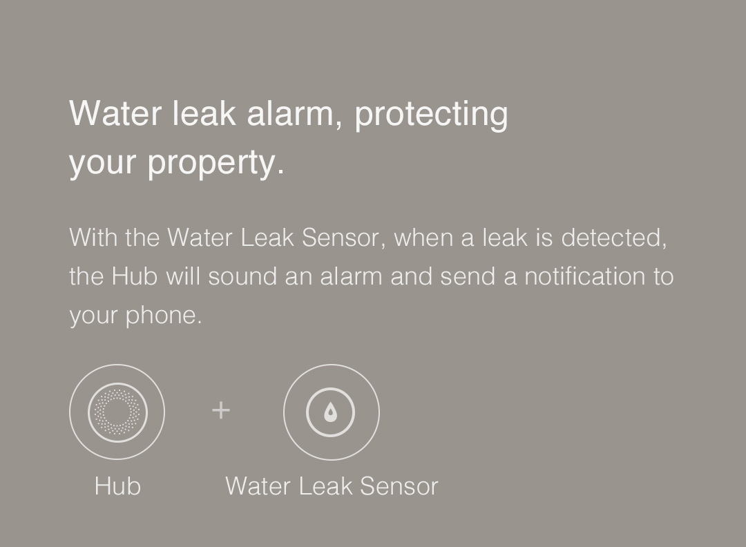 Aqara Hub - Water leak alarm, protecting your property.
