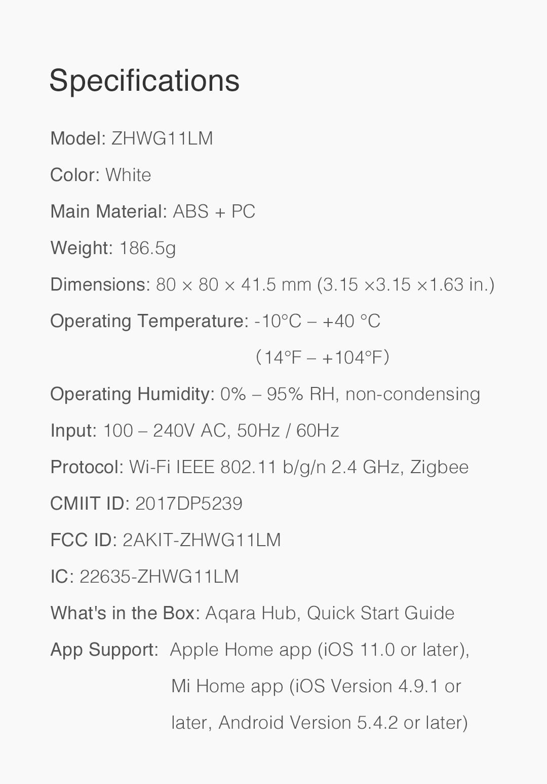 Aqara hub eu version specifications