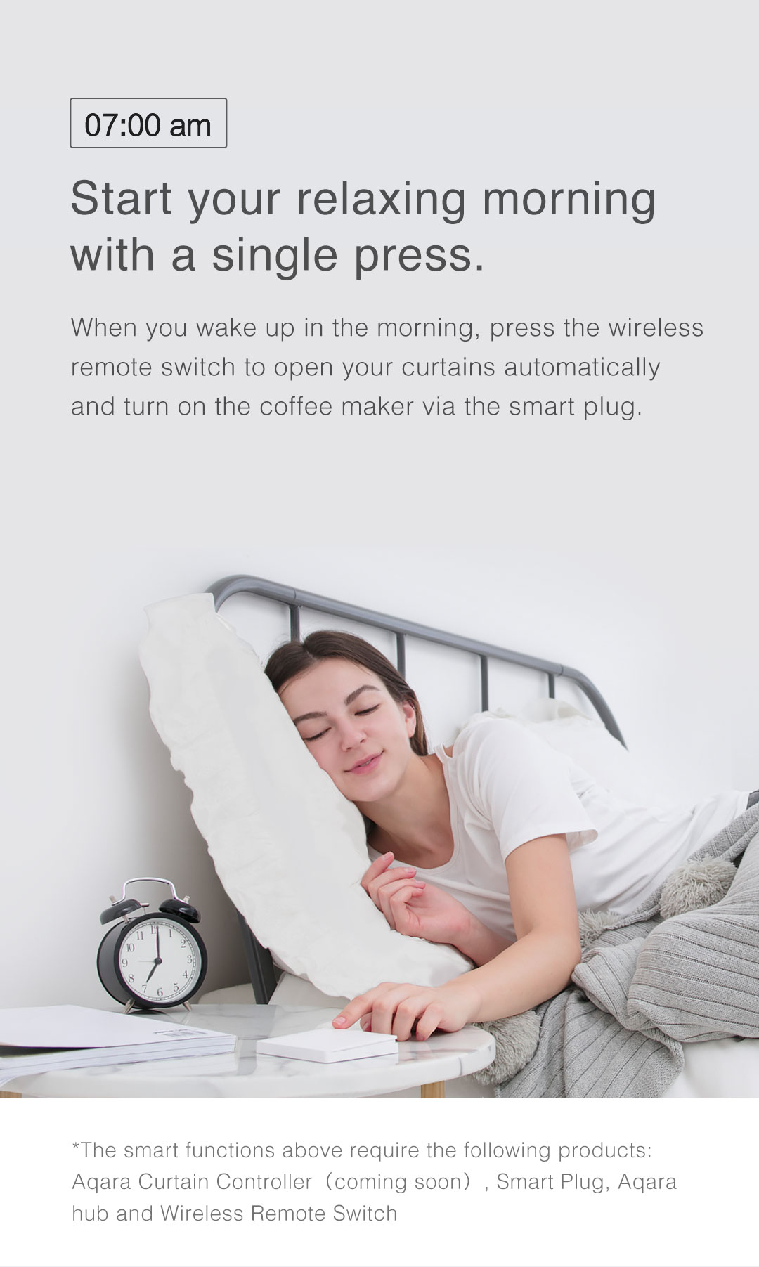 Press our wireless light switch to start your relaxing morning