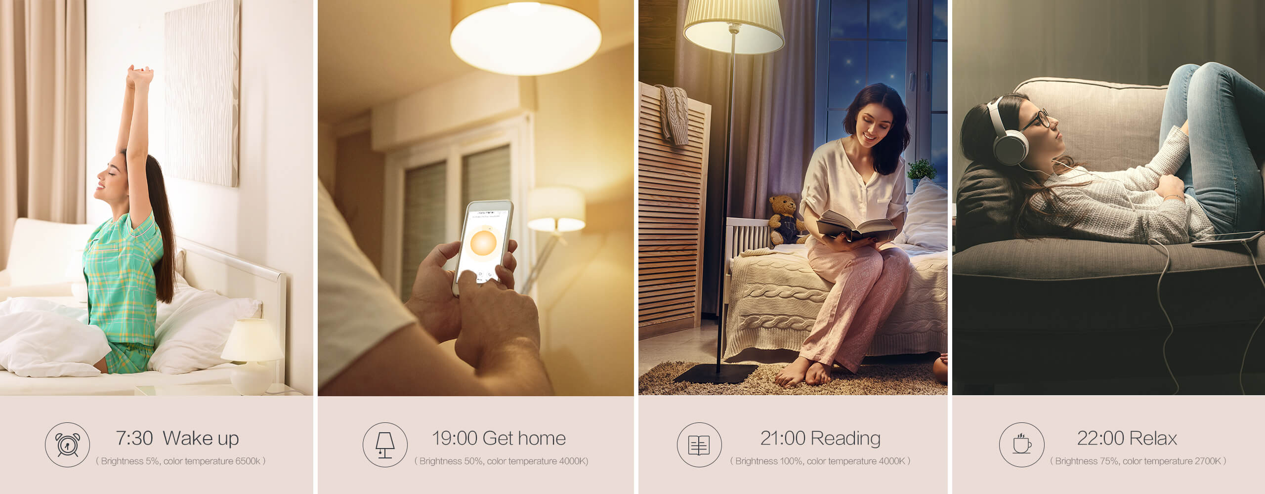 Schedule Aqara light bulb's brightness and color temp at different time.