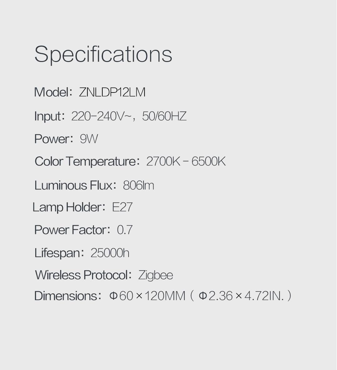 Aqara light bulb specifications