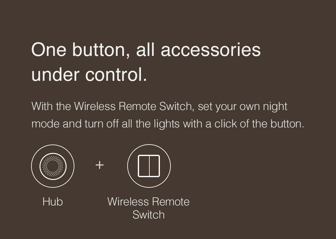 With the Wireless Remote Switch, set your own night mode and turn off all the lights with a click of the button.