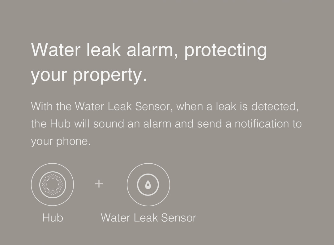 Aqara smart hub - Water leak alarm, protecting your property.