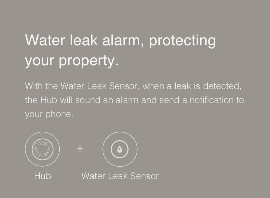 Aqara smart hub - Water leak alarm, protecting your property.
