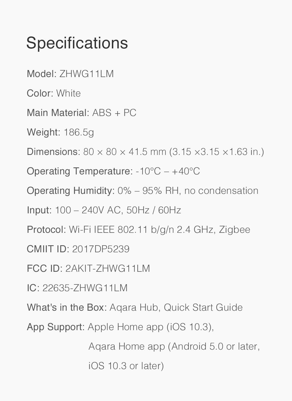 Aqara hub us version specifications