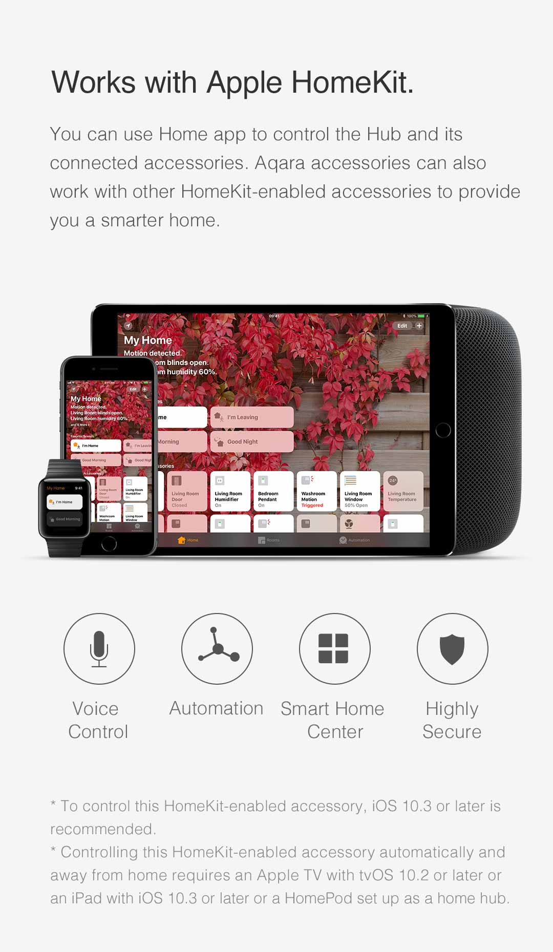 You can control the Aqara HomeKit Gateway and its connected smart home devices in Home app