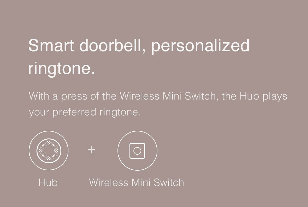 With a press of the Wireless Mini Switch, the Hub plays your preferred ringtone.