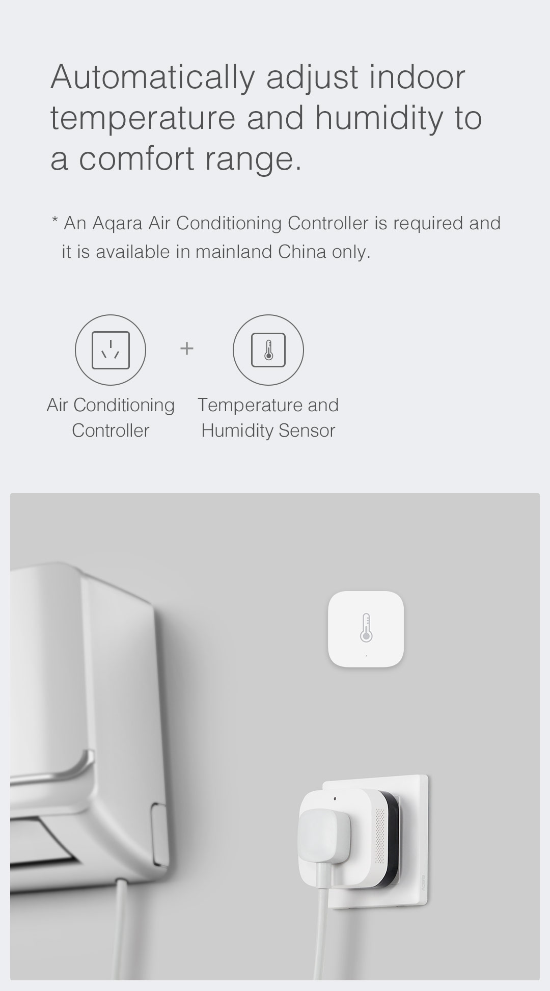 smart ac control with smart home temperature and humidity sensor