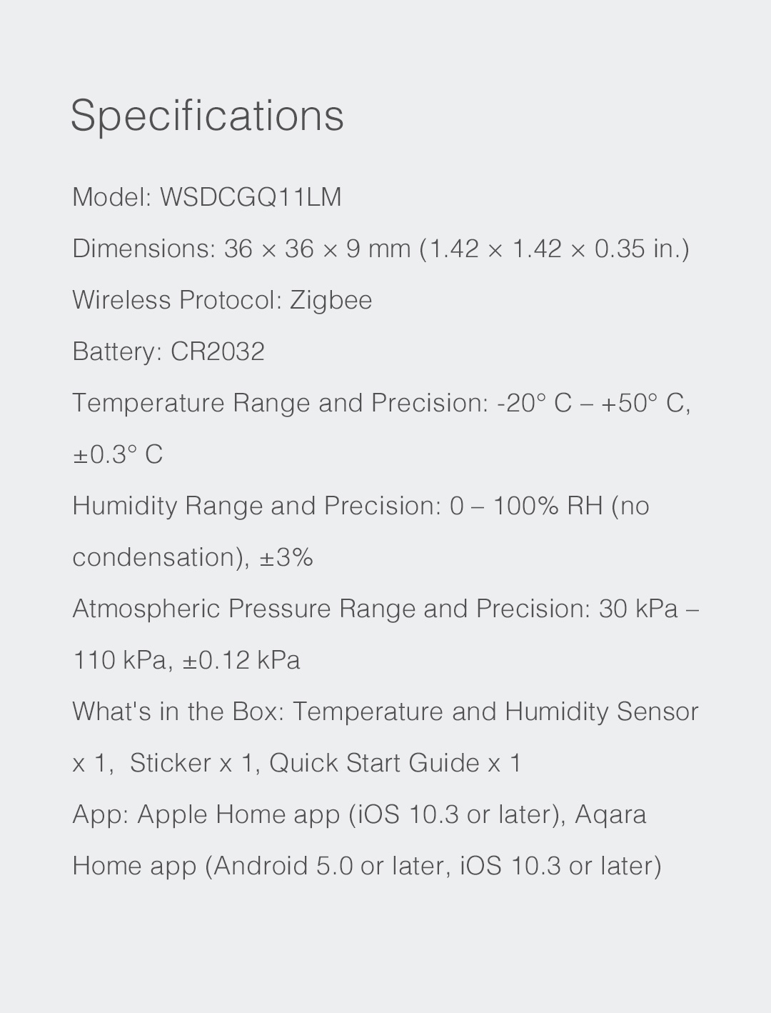 Smart Temperature/Humidity sensor specifications