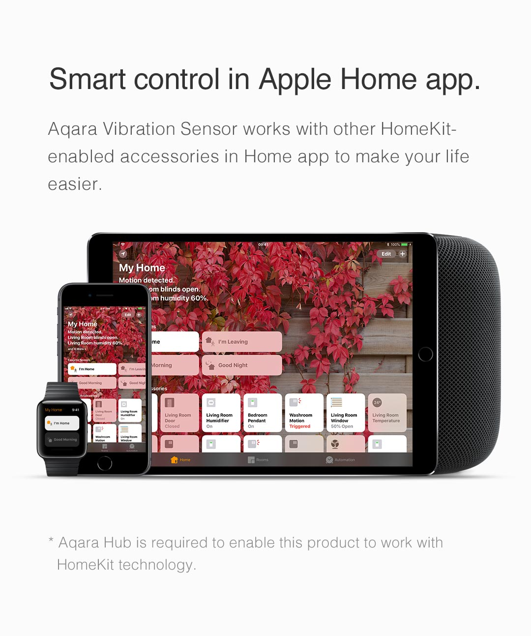 Smart Control in Apple Home App with our smart wireless vibration sensor