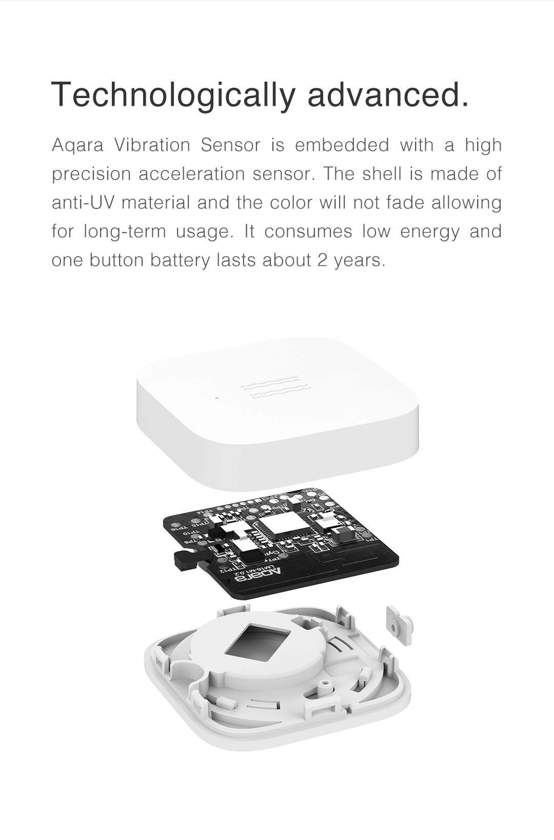 Our vibration sensor is embedded with a high precision acceleration sensor.