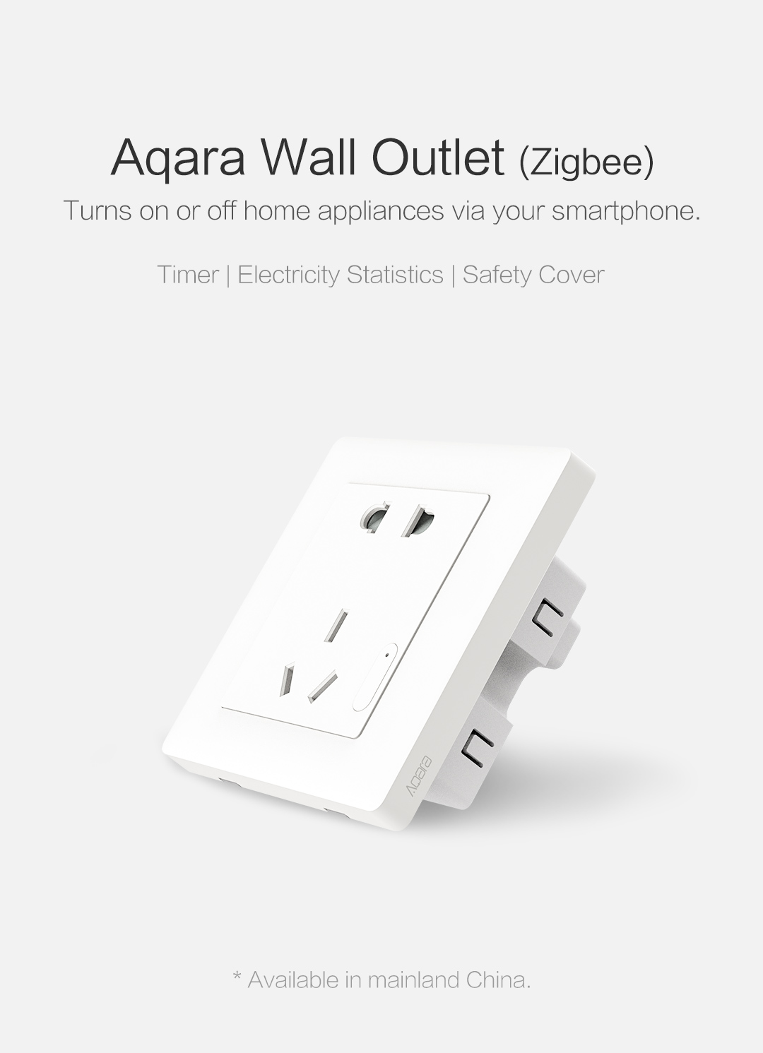 Aqara smart wall outlet - Turns on or off home appliances via your smartphone