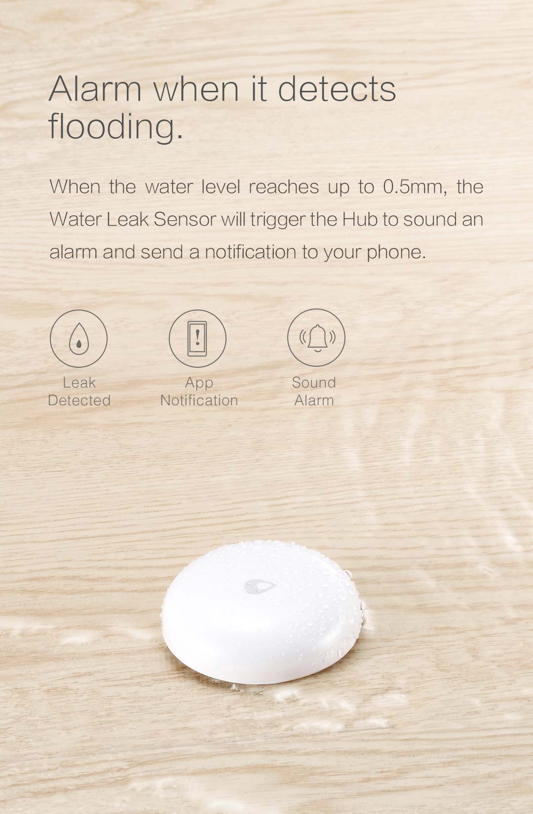 water flood sensor with water leak alarm in smart home