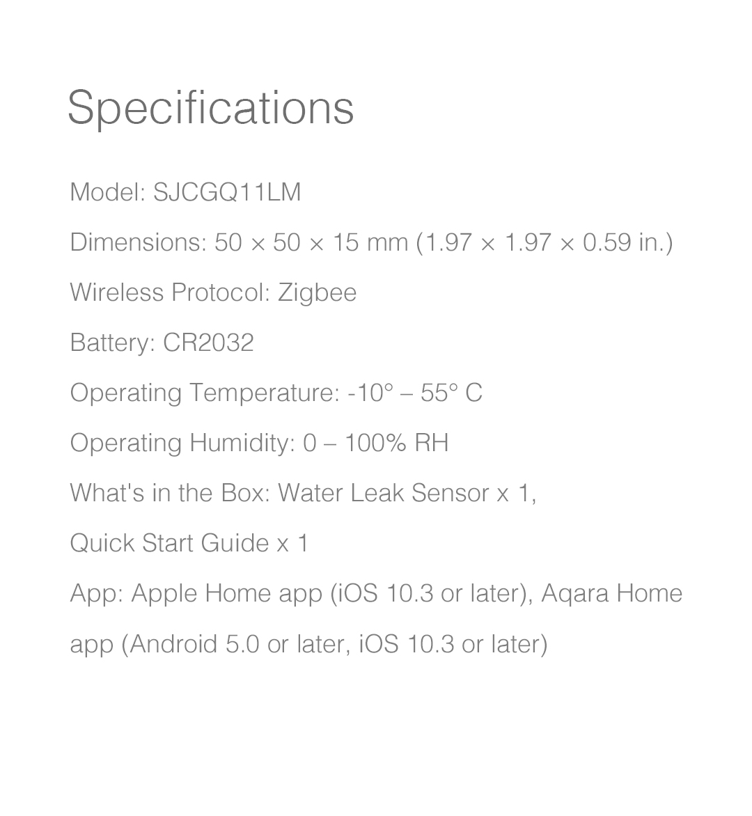 Aqara water leak sensor specifications