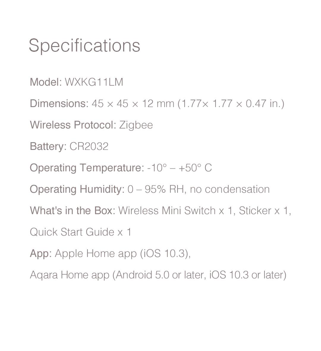 Aqara wireless switch specification