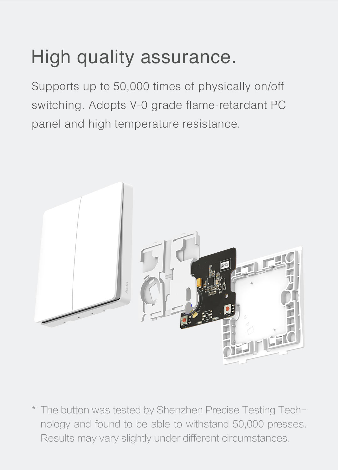 Aqara wireless light switch supports up to 50,000 presses and allows for high temperature resistance