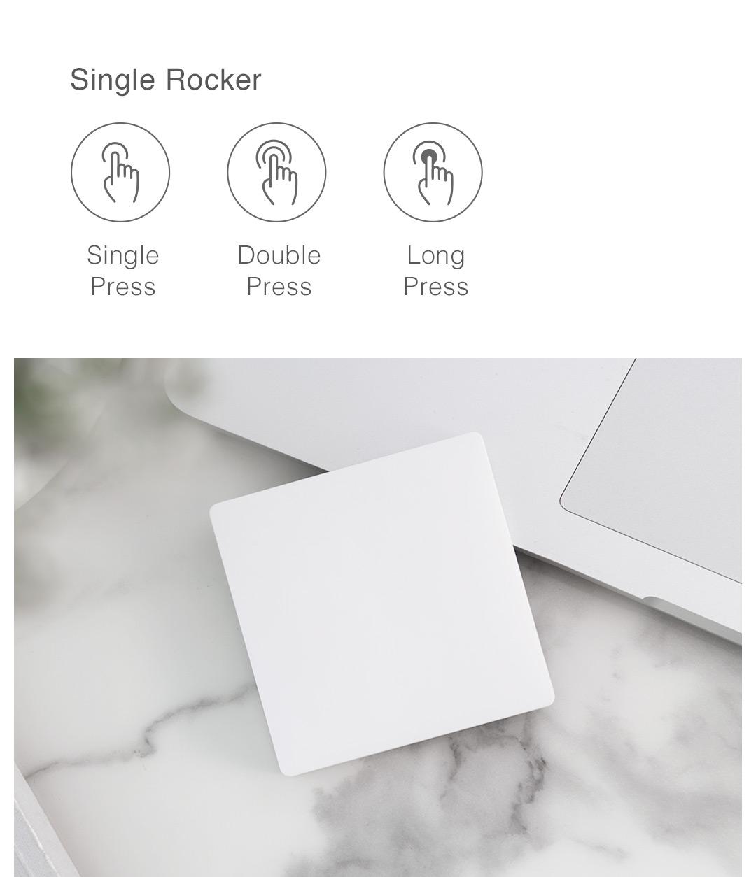 Aqara wireless remote switch single rocker function: single press, double press, long press
