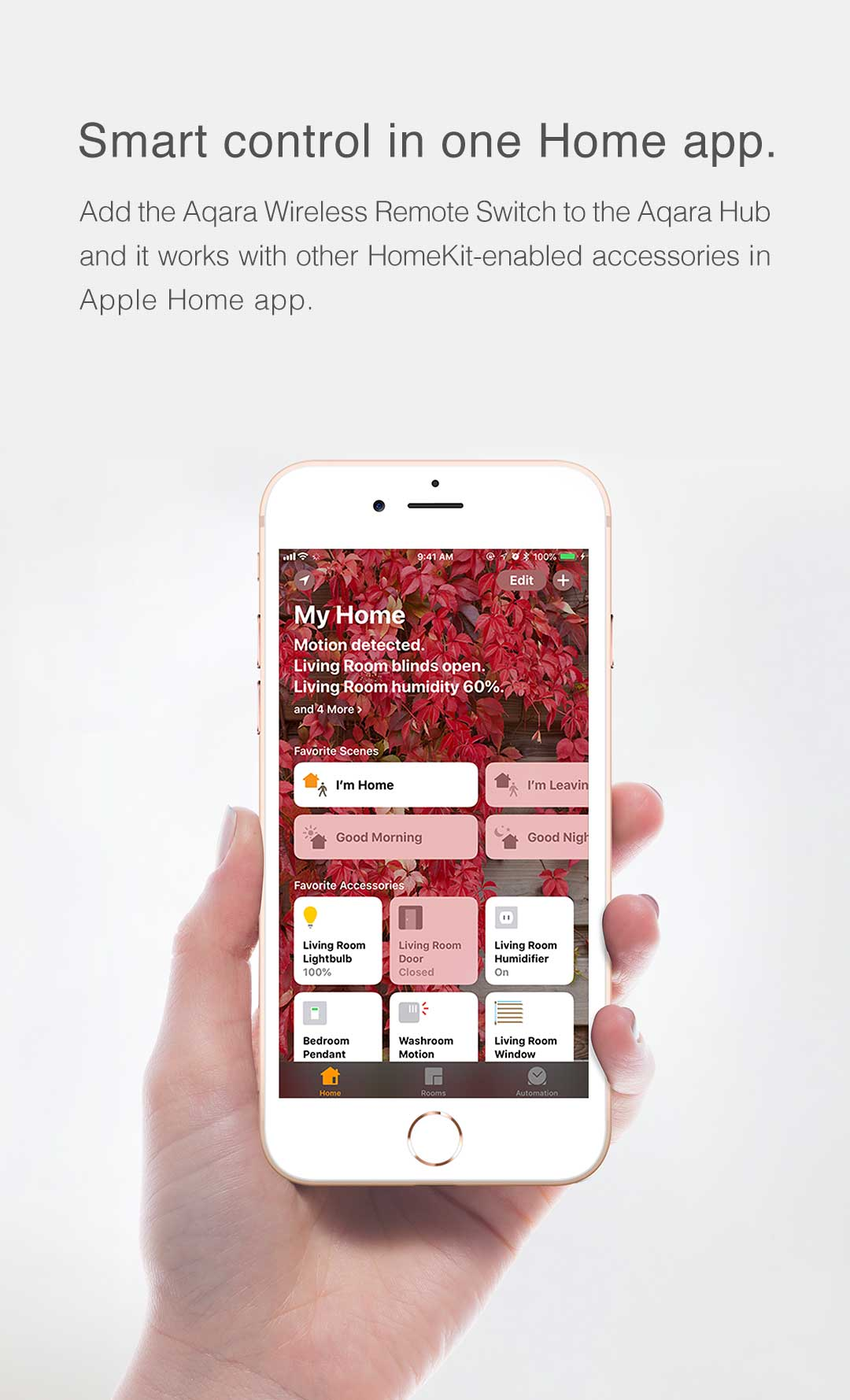 Smart Control in Apple Home App with our wireless smart light switch