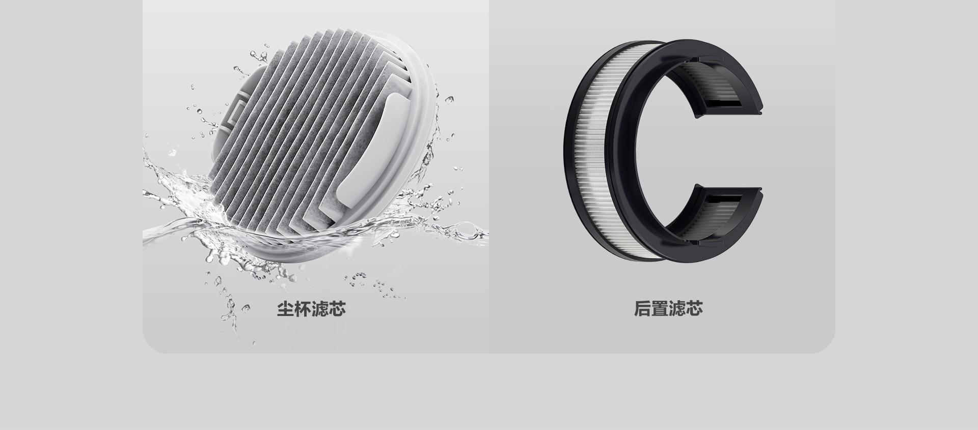 睿米手持无线吸尘器的尘杯滤芯和后置滤芯的细节图片